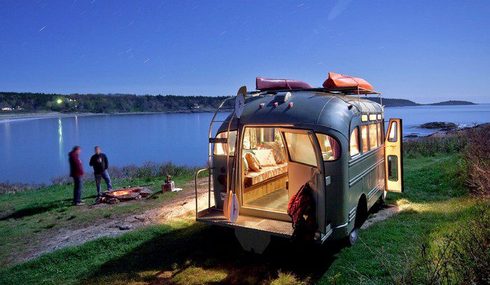 1959 Chevrolet Viking short bus converted into a camper!
