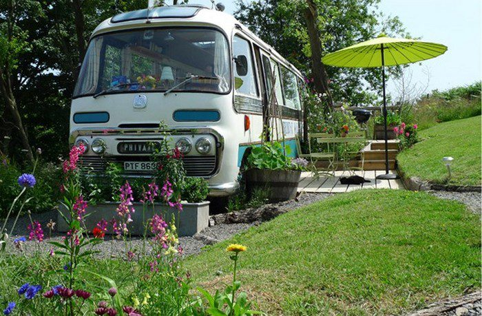 Old bus converted into a majestic and cozy home